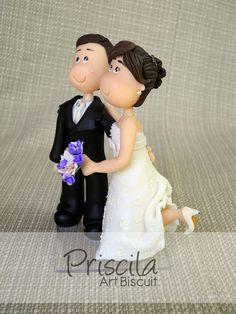 casal de noivinhos Fofinhos de biscuit  - Grooms in cold porcelain