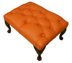 Chesterfield Queen Anne Footstool UK Maufactured Orange, Leather Sofas, Traditional Sofas