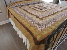 Patchwork Quilt, Boston Commons Quilt, Amish Quilt, King Size Quilt, Hand Made Quilt, Earth Tone Quilt, Quilted Bedspread, Cotton Comforter