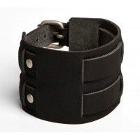 """Leather Wristband Style 108 for $19.95.  This eye-catching band is approximately 2 1/4"""" (5.7cm) wide with two 5/8"""" (1.6cm) straps weaving through the sides & buckling in the back."""
