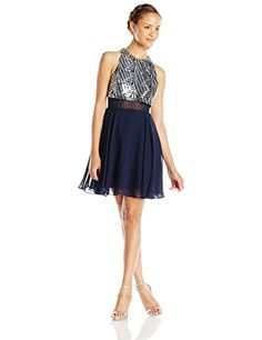 Speechless Junior's Sleeveless Chiffon Short Prom Dress with Sequin Popover Top, Navy, 5. Sleeveless dress featuring layered A-line skirt and popover bodice with applied sequins in geometric pattern. Sheer bodice underlayer.