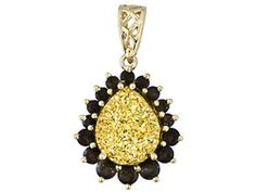 3.16ctw Pear Shape Golden Drusy Quartz And Smoky Quartz 10k Yellow Gold Pendant - This is an eye catcher. Picture this against a black sweater!
