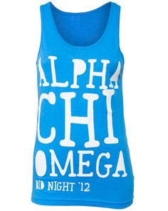 Alpha Chi Omega Couldn't Say No Tank from Adam Block. I like this font and arrangement for the back of the half-zip.