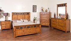 Sedona Rustic Oak Glass Wood Master Bedroom Set