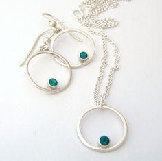 Sparkling emeralds set in circles of sterling silver.  SCJJewelryDesign.etsy.com