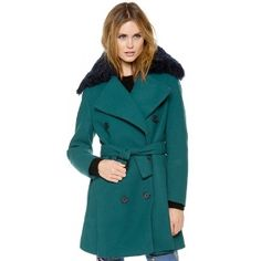 3.1 Phillip Lim Deep Teal Pea Coat With Detachable Collar