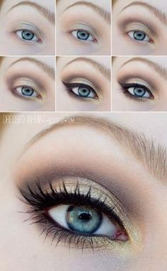 Golden brown eye makeup for blue eyes #tutorial #evatornadoblog by EmmaJane13 Smoky Eye Tutorial, Easy Makeup Tutorial, Makeup Tutorial For Beginners, Simple Eyeliner Tutorial, Brown Eyeshadow Tutorial, Love Makeup, Simple Makeup, Makeup Tips, Beauty Makeup