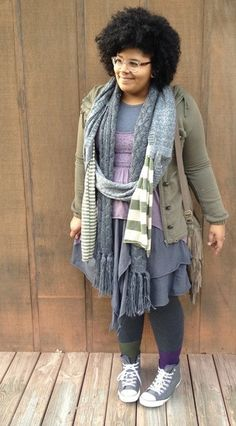 plus size mori girl outfit in lavender, gray and olive green