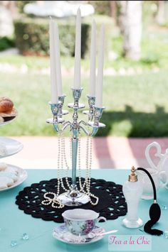 Breakfast at Tiffany's tea party! See more party planning ideas at CatchMyParty.com!