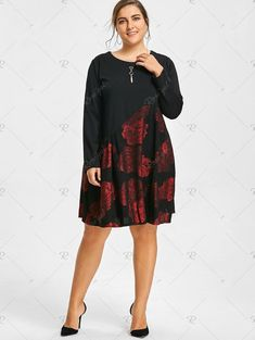 $28.17---5x/18--Bronzing Floral Panel Plus Size Long Sleeve Dress - Wine Red - 5xl