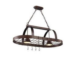 2-Light Oil Rubbed Bronze Pot Rack has an impeccable brushed nickel finish. The fixture comes with eight S-hooks that can hold most pots, pans and other kitche