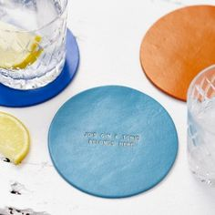 Personalised Bright Leather Coaster