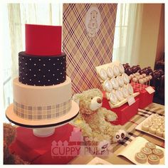 Burberry & Bears sweets table I purposely left the top tier simple because the bottom had a pattern and the middle tier had texture, it was sort of tufted. Burberry Bear, Baby Burberry, Themed Cakes, Birthday Party Themes, Shower Ideas, Bears, Purpose, Party Ideas, Sweets