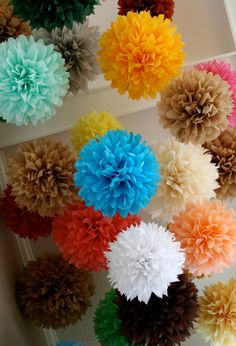 Happy colors!  Custom Colors ... 20 tissue paper poms // wedding reception // birthday // golden anniversary // engagement party decorations. $66.00, via Etsy.