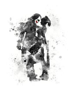 La ilustración de Joker y Harley Quinn lámina, superhéroe, Super villano, Batman, decoración casera, arte de la pared