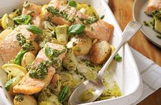 Salmon, artichoke and potato pesto traybake   Tesco Real Food