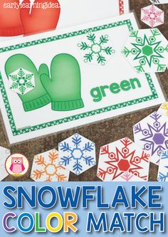 Winter color matching and sorting for preschool, pre-k, and tot school.  Teach kids colors with this hands-on snowflake activity.  It is great as and individual activity and can also be used for small group activities.  Includes a cover so that you can make it into an interactive busy book too.