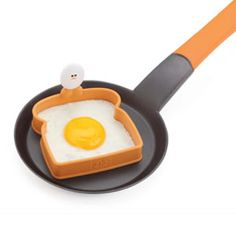 Toast Top Egg-Shaper. This Silicone ring forms toast shaped eggs ideal for breakfast sandwiches. The egg-shaped handle makes it easy to use and keeps fingers safe. Heat resistant up to 536F/280C. $3.99 www.joieshop.com