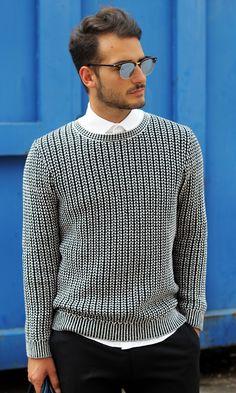 Reiss Peak Men's Contrast Weave Sweater