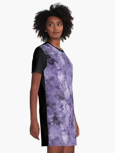"""Abstract Purple Marble"" Graphic T-Shirt Dress by Naumovski 