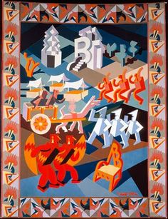 Fortunato Depero - The Chair's Party - Tapestry, 1927.