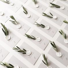We love the olive branch details on these escort cards! And don& even get us started on those white wax seals!Oh happy wedding day, J&E! Their escort card display is a California dream come true. Perfect forescort cards in a clean and simple design w Wedding Places, Wedding Place Cards, Wedding Escort Card Ideas, Wedding Ideas, Diy Place Cards, Place Card Table, Wedding Planning, Wedding Details Card, Card Wedding
