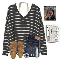 """I guess I need to get all of my winter drafts out"" by raquate1232 ❤ liked on Polyvore featuring Hollister Co., MANGO, Birkenstock, H&M, Better Late Than Never and The North Face"