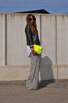 black, white and neon