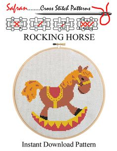 Rocking Horse - Childs Counted Cross Stitch Pattern PDF - Plus Free Bonuses…