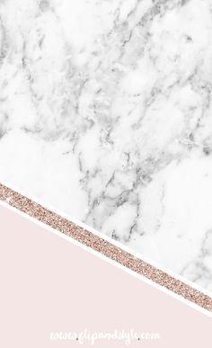 Wallpaper Mármore com uma Risca Dourada e Rosa