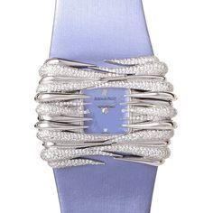 Audemars Piguet Givrine Manual Wind Diamond 18 kt White GoldLadies Watch $98,400 #AudemarsPiguet #watches #chronograph 18 kt white gold and diamonds case with a lavendar satin bracelet.