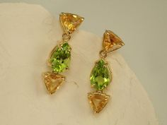 Dangly Fish Earrings Peridot and Citrine Earrings by Studiometals, $385.00