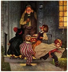 Halloween, All Hallows Eve, Trick or Treat, Witch, Goblin, Ghost, Black Cat, Bat, Skull, Ghouls, Scarecrow, Grim Reaper, Jack-O-Lantern, Pumpkin, Spooky, Scary, Haunting, Creepy, Frightening, Full Moon, Autumn, Fall, Magic Potion, Spells, Magic - 1951 Illustration by Amos Sewell.