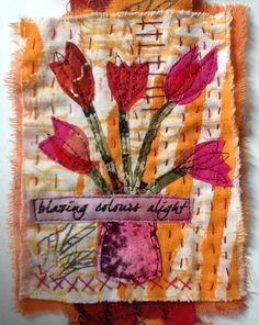 Page of a tulip inspired textile art book by Ineke Berlyn