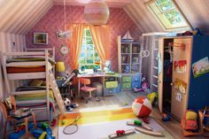 Childrens Room Picture  (3d, illustration, interior, cartoon, room)