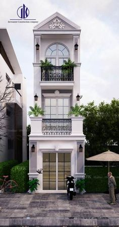 Exterior house classic facades ideas You are in the right place about facade material Here we offer you the most beautiful pictures about the facade entrance you are looking for. Bungalow House Design, House Front Design, Small House Design, Modern House Design, Classic House Exterior, Classic House Design, Dream House Exterior, Cafe Exterior, Restaurant Exterior