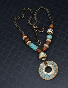 Rustic Turquoise and Brown Artisan Necklace Handmade Ceramic Asymetrical | Linda Landig Jewelry