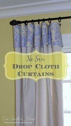 No Sew Drop Cloth Curtains with Toile Topper I have been in love with the idea of using drop cloths in home décor. I decided to give it a first try with new curtains for my craft room space that I share with exercise equipment. Hop on over to my blog to see a full tutorial on how easy, inexpensive and lovely they can be! More pictures are there.