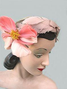Vintage Hat Designer John Frederics New York 1940s 1950s turban w/ pink feather flower
