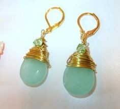 Adventurine Briolette Wire Wrapped Earrings - free shipping