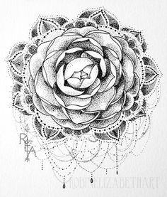 Ornate Hand Drawn Camellia Mandala Original by RobinElizabethArt, $65.00