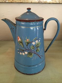 CHIC FRENCH Enamel COFFEE POT Shabby ANTIQUE Enameled Blue Floral Biggin Vintage