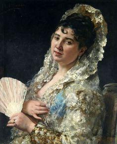 Eduardo León Garrido - A portrait of a Spanish lady with a fan
