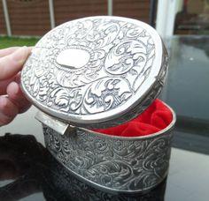 Silver Metal Oval Trinket Box English by BlackSquirrelHome on Etsy