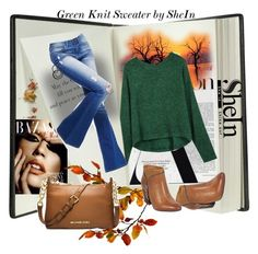 """""""Green Knit Sweater by SheIn"""" by farzija-duzel ❤ liked on Polyvore featuring Pineider, Miz Mooz and MICHAEL Michael Kors"""