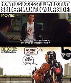 Let's just say Spider-Man knows how expensive college is <--- Not to mention having to keep his original suit in working condition (repairs and replenishments for his web shooters) Marvel Jokes, Marvel Funny, Marvel Dc Comics, Marvel Heroes, Marvel Avengers, Thor, Loki, Hulk, Spideypool