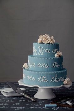 Dusty blue wedding cake with writingCalligraphy Style Wedding Cakes via Carrot Spice Cake, Pumpkin Spice Cake, Wedding Vendors, Wedding Cakes, Cake Pedestal, Cake With Cream Cheese, Philadelphia Wedding, Love Cake, Wedding Details
