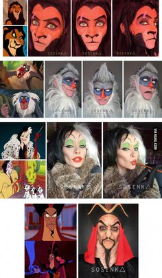 Disney Character Cosplay Her Disney-faces transformations remind me of my childhood - More memes, funny videos and pics on Disney Character Makeup, Disney Makeup, Cosplay Makeup, Costume Makeup, Cosplay Costumes, Scar Halloween Costume, Halloween Make Up, Disney Cosplay, Disney Costumes