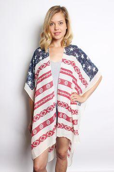 American Flag Bohemian Kimono