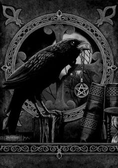 An unusual gothic greetings card by Lisa Parker featuring a raven perched on a tree stump holding a pentagram necklace in its mouth. Books can be seen in the foreground and the raven sits in front of a circular gothic window. Quoth The Raven, Raven Art, Raven Totem, Crow Art, Jackdaw, Crows Ravens, Art Graphique, Gothic Art, Book Of Shadows